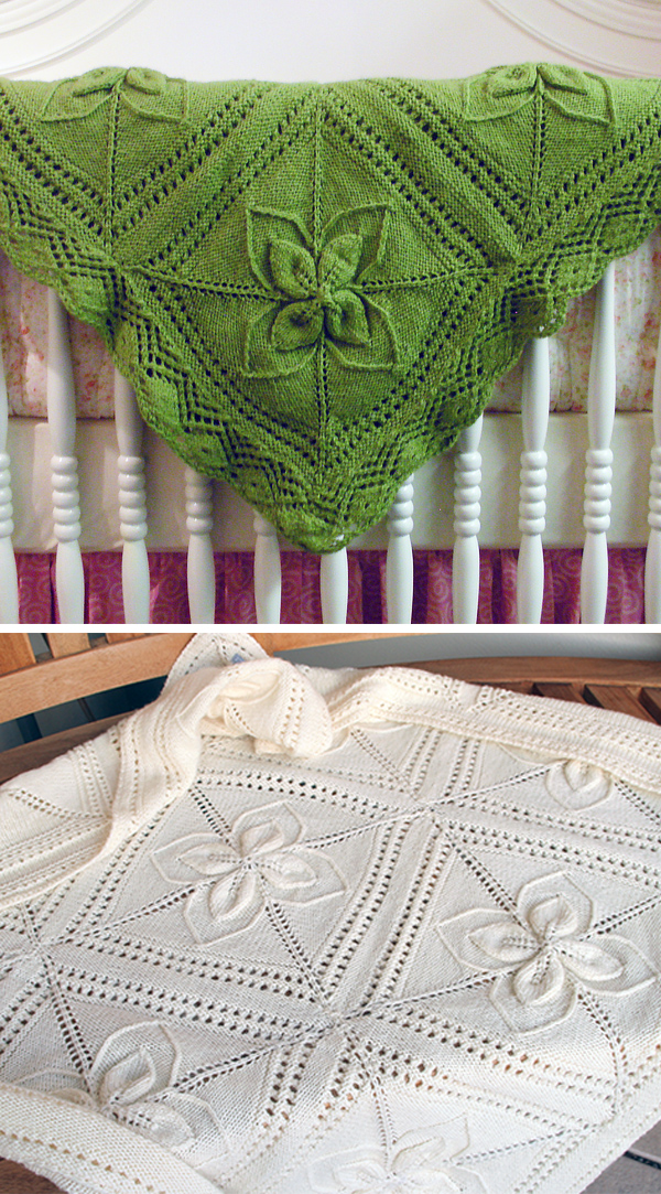 Knitting Pattern for Ariel Counterpane Baby Blanket