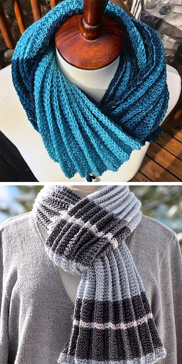 Free Knitting Pattern for 2 Row Repeat Pleated Scarf