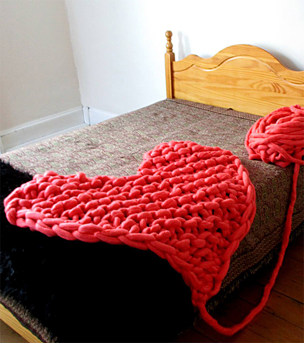 Free Knitting Pattern for Arm Knit Heart Blanket or Rug