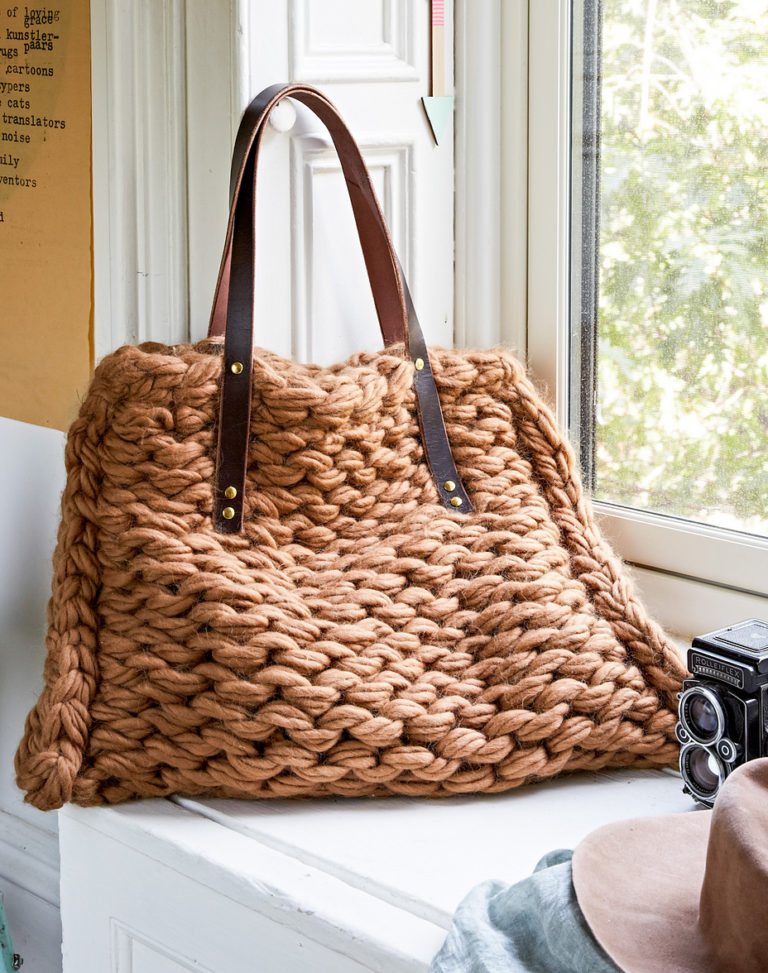 Knitting Pattern for Arm Knit Purl Side Tote Bag