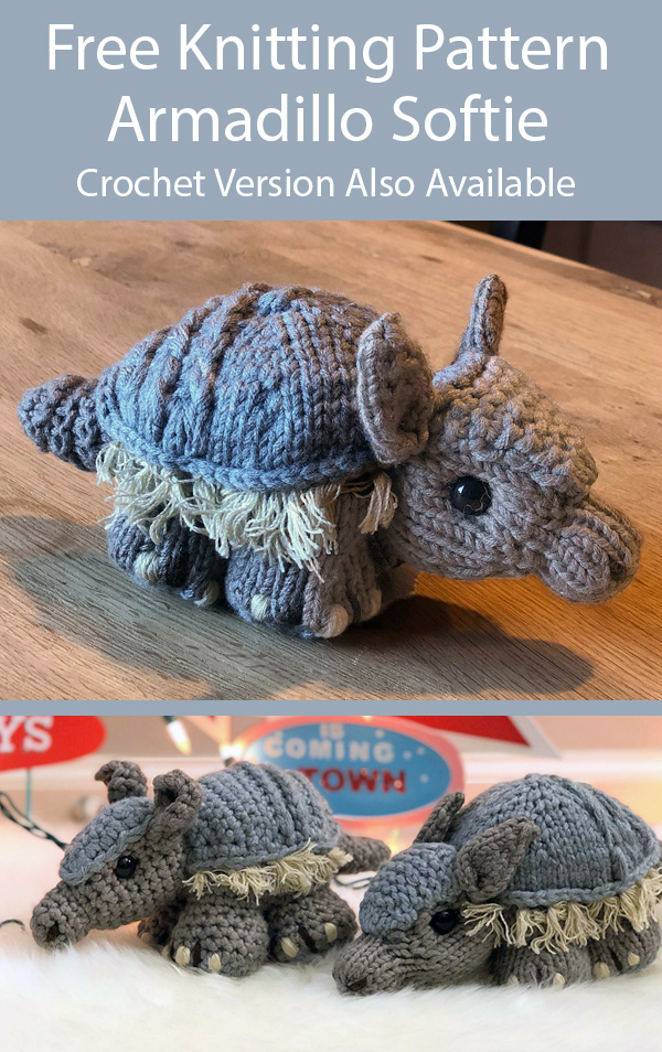Free Knitting Pattern for Armadillo Andy Stitchadillo