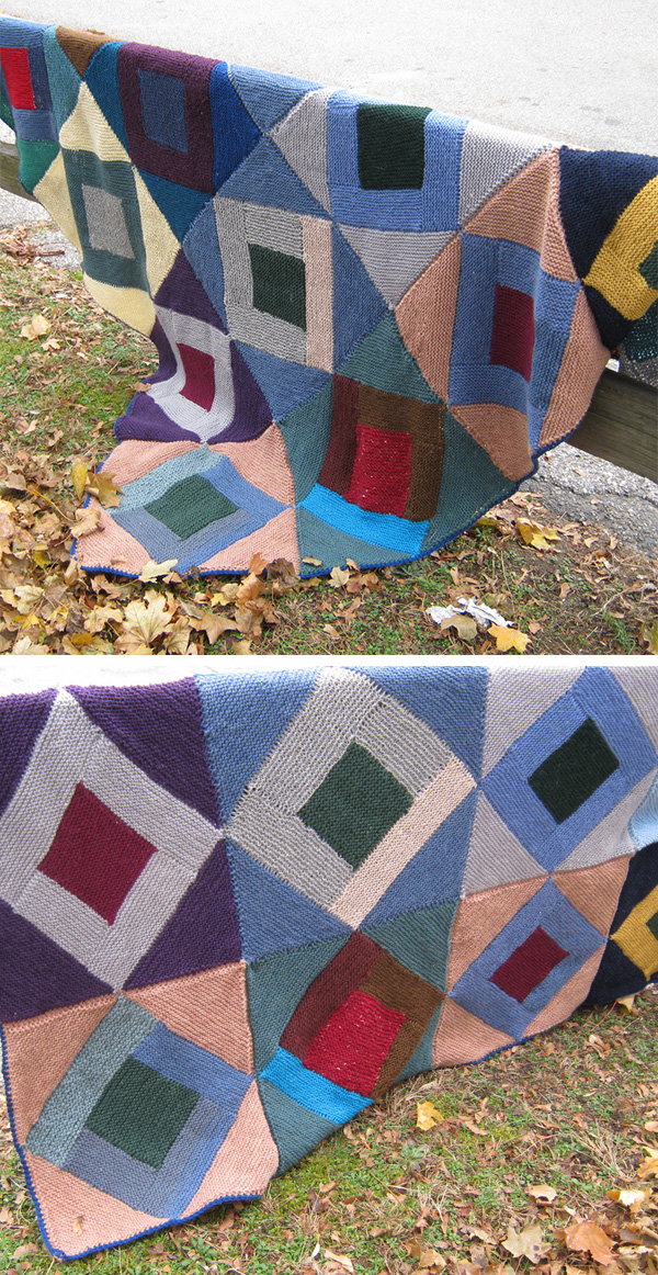 Free until January 31, 2020 Knitting Pattern for Around the Twist Log Cabin Throw
