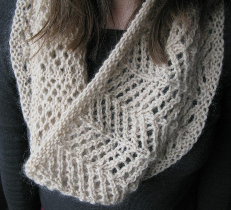 Knitting Pattern for One Skein 4 Row Repeat Cowl