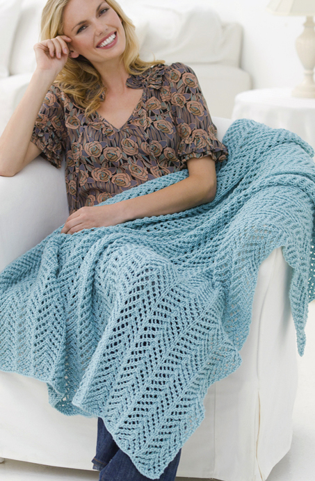 Free Knitting Pattern for Arrowhead Lace Throw