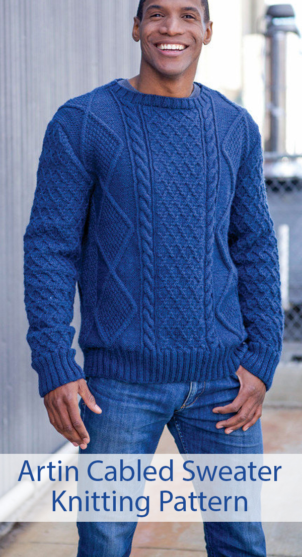Knitting Pattern for Artin Cabled Men's Pullover Sweater Sizes S to 3X