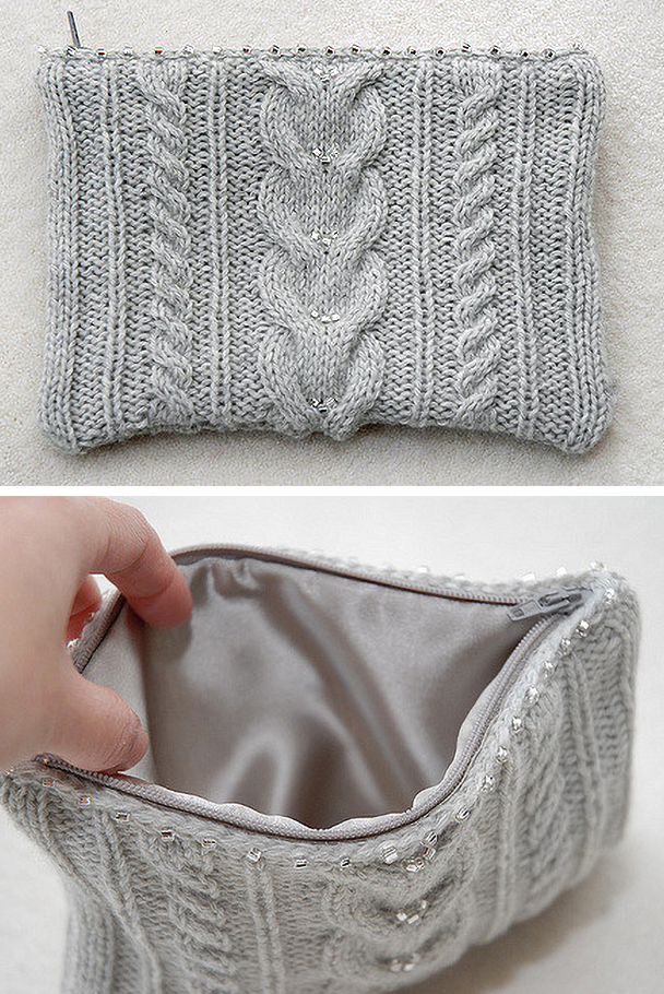 Free Knitting Pattern for Ashley Cable Clutch Bag