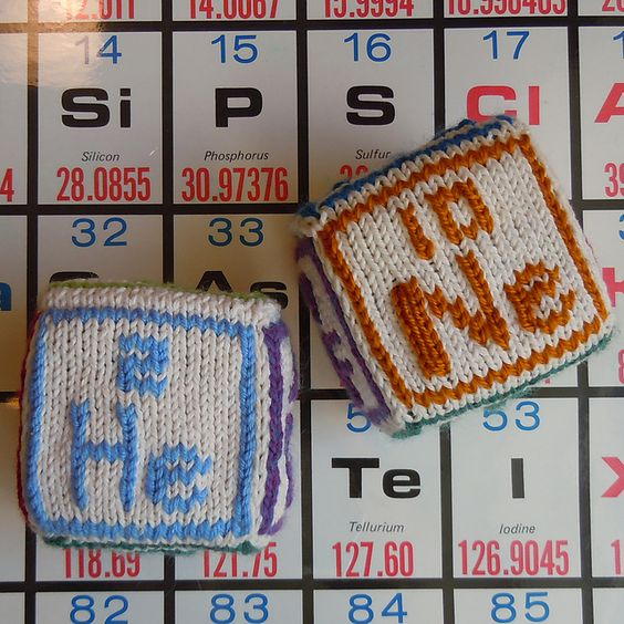 Free knitting pattern for Atomic Blocks for periodic table of elements