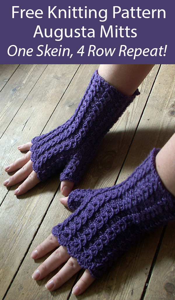 Free Mitts Knitting Pattern Augusta Fingerless Mitts in One Skein