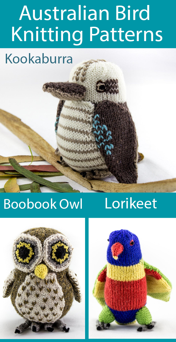 Knitting Patterns for Australian Birds, Kookaburra, Boobook Owl, or Rainbow Lorikeet Toy