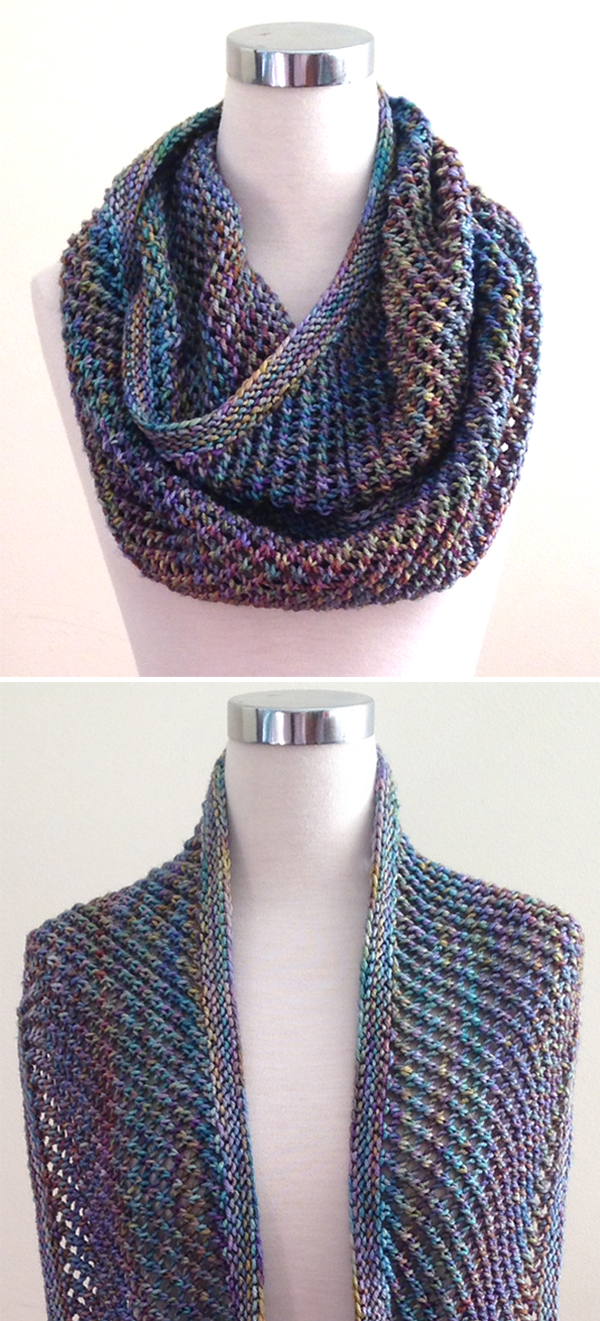 Free Knitting Pattern for Easy 2 Row Repeat Autopilot Cowl