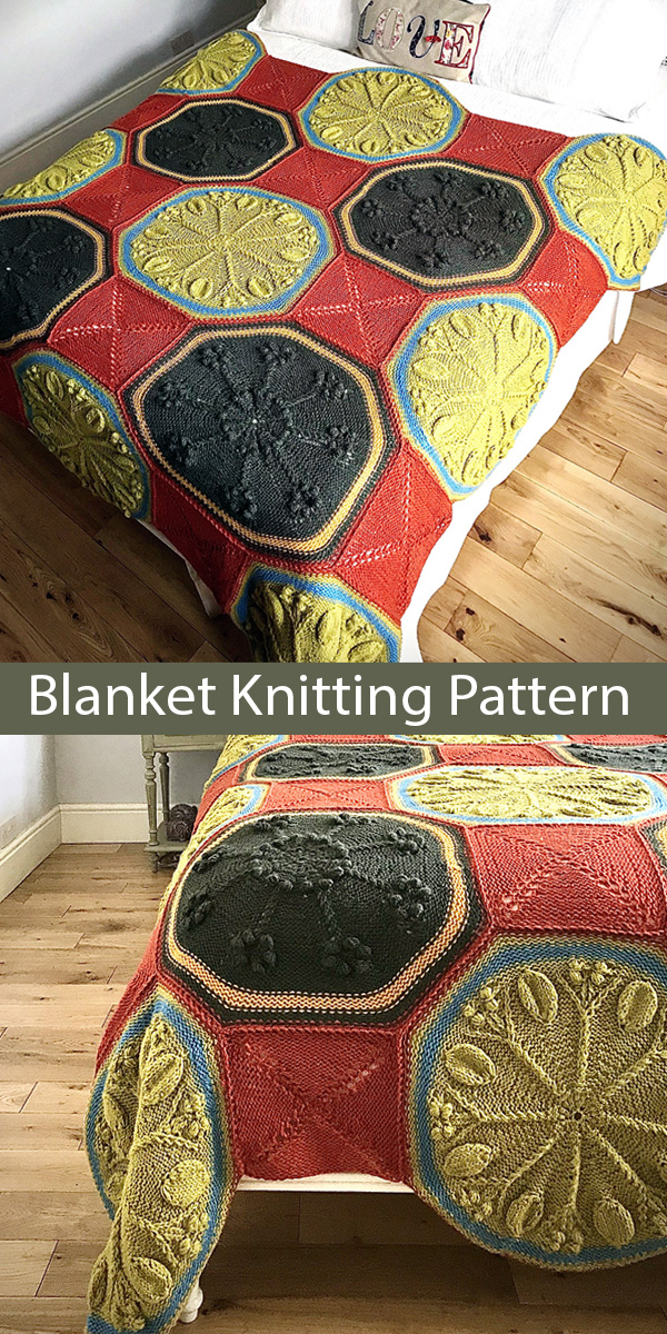 Blanket Knitting Pattern for Autumn Leaves and Flowers Afghan