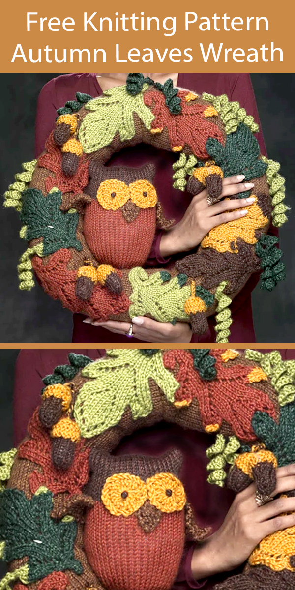 Free Autumn Leaves Wreath Knitting Pattern