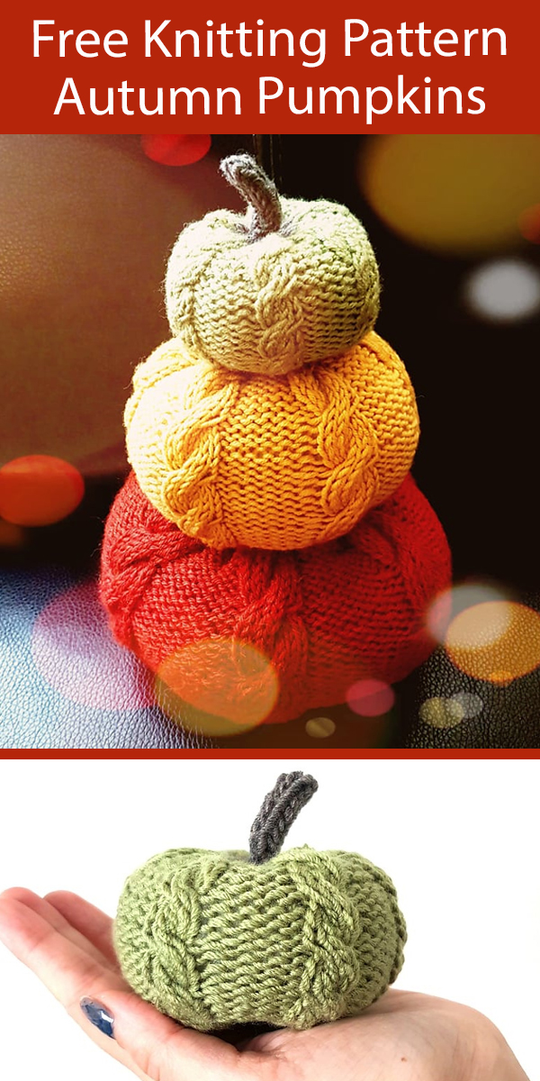 Free Cable Pumpkins Knitting Pattern