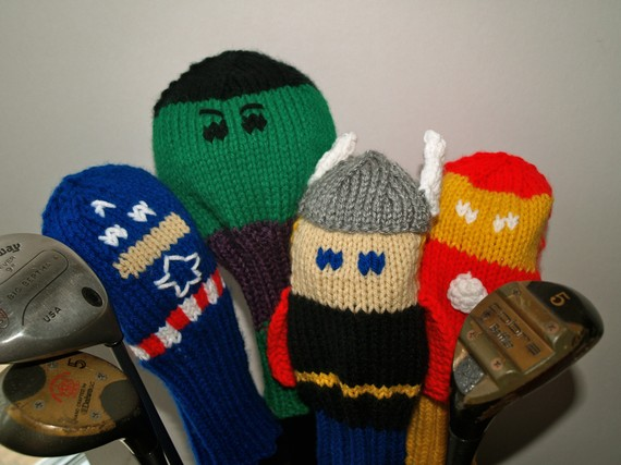 Knitting pattern for Marvel Super Hero Golf Club Covers and more super hero knitting patterns