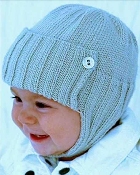 Free Knitting Pattern for Aviator Style Baby Hat