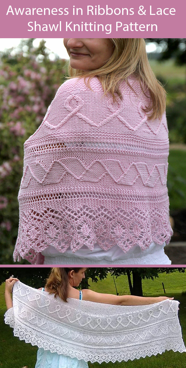 Knitting Pattern for Awareness in Ribbons and Lace Shawl