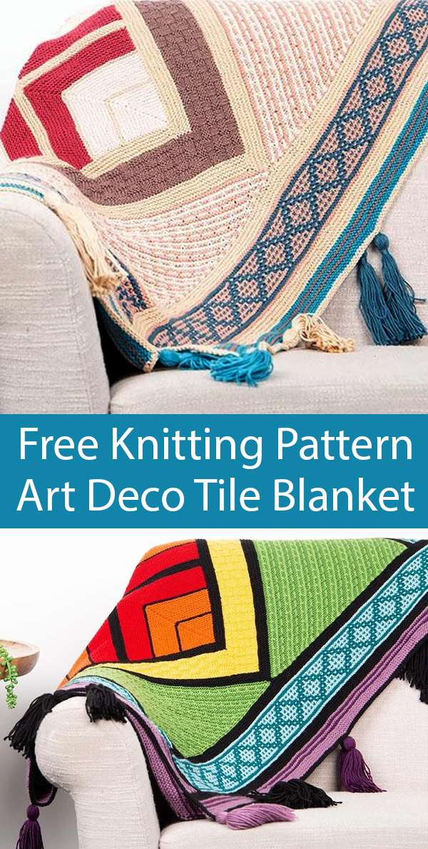 Free Knitting Pattern or $32 Kit for Art Deco Tile Blanket
