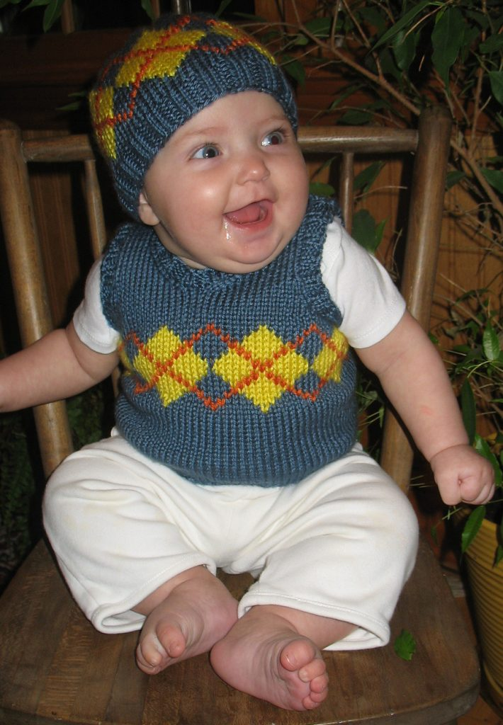 Free Knitting Pattern for Baby Argyle Vest and Hat