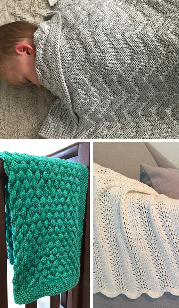 Baby Blanket Knitting Pattern Bundle, Zig Zag, Feather and Fan, and Bubble Blanket Knitting Patterns
