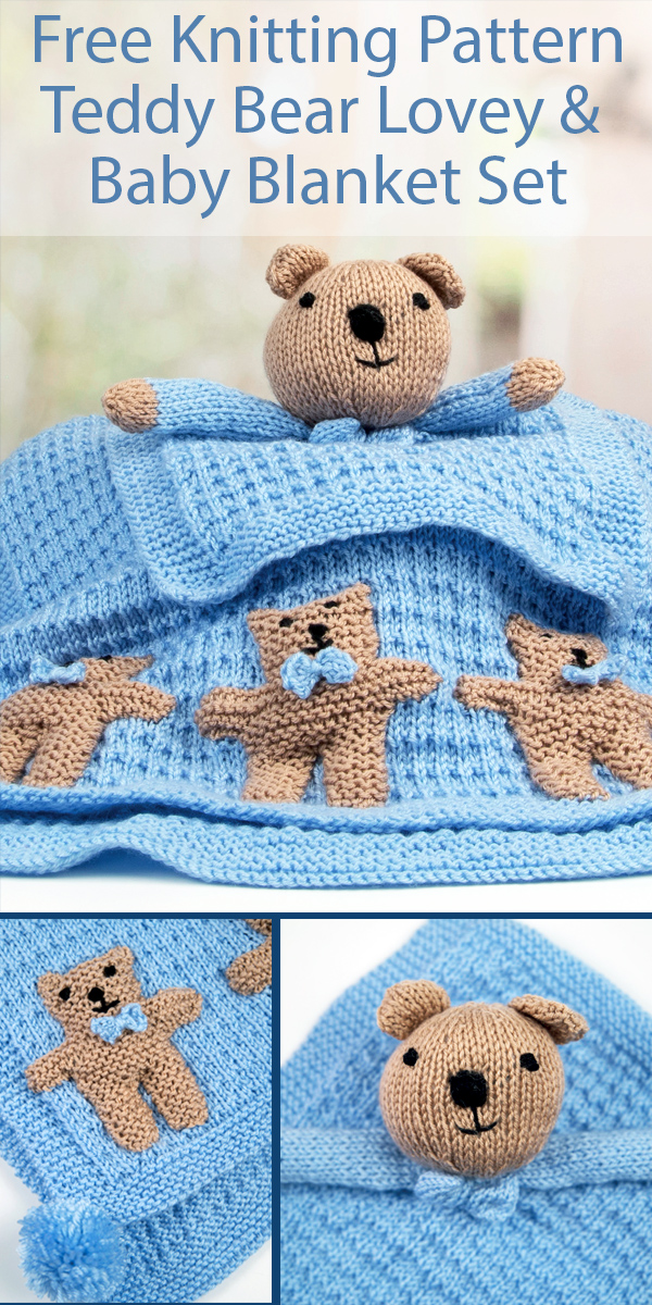 Free Knitting Pattern for Teddy Bear Lovey and Blanket Set