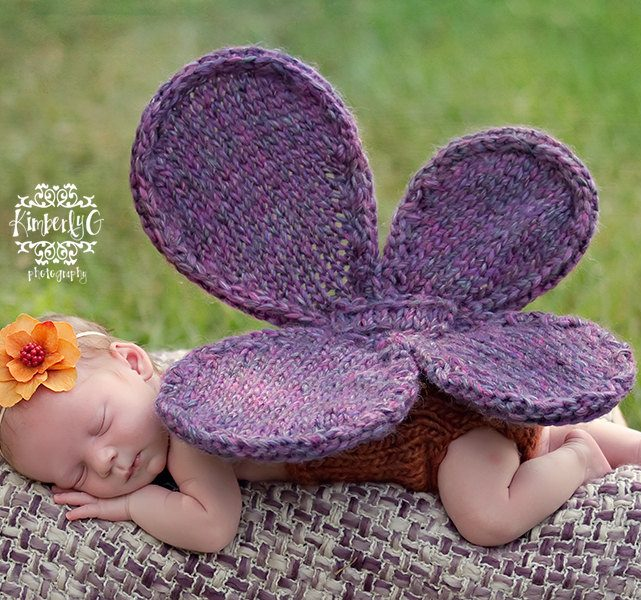 Knitting pattern for Butterfly Wings Baby Photo Prop