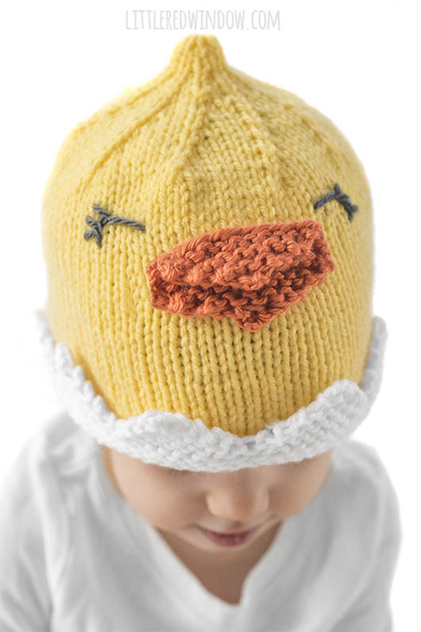 Free Knitting Pattern for Hatching Chick Hat