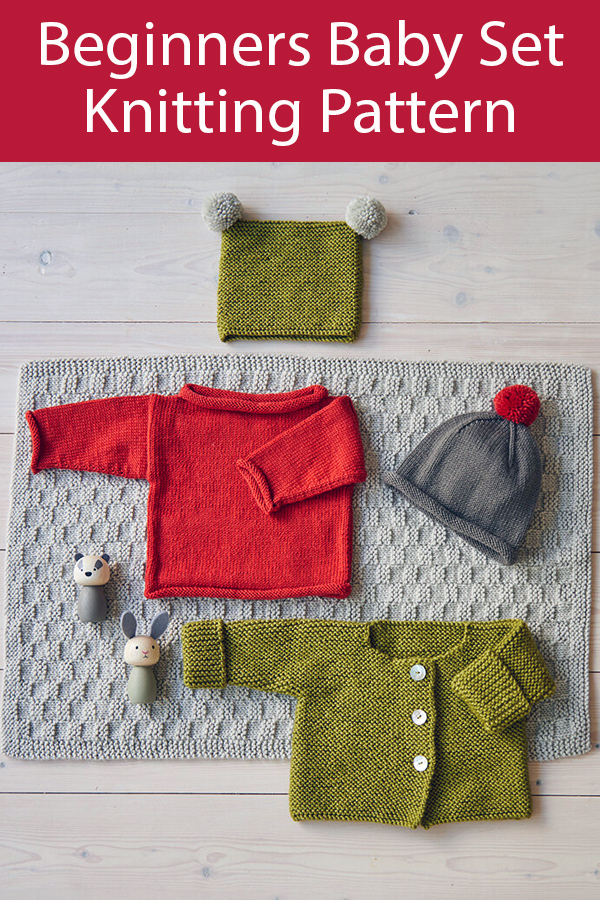 Knitting Pattern for Baby Set for Beginners Jacket, Jumper, Beanie, Hat & Blanket by Debbie Bliss