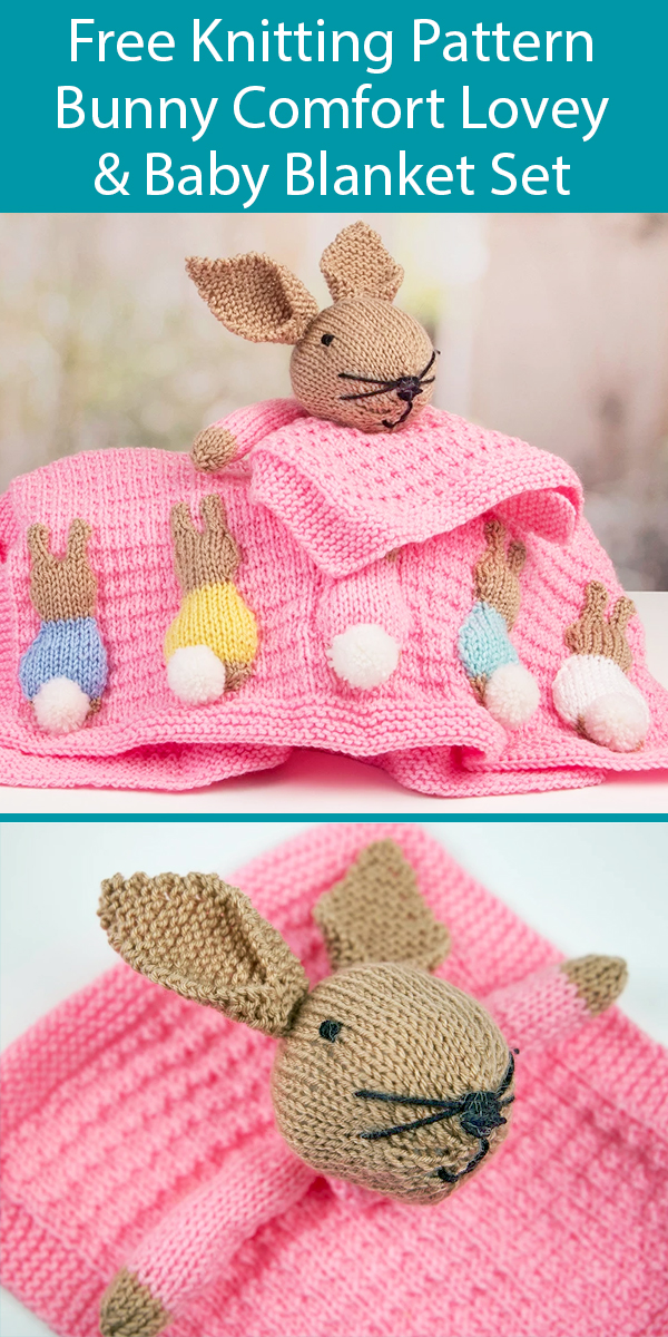 Free Knitting Pattern for Bunny Lovey and Baby Blanket Set