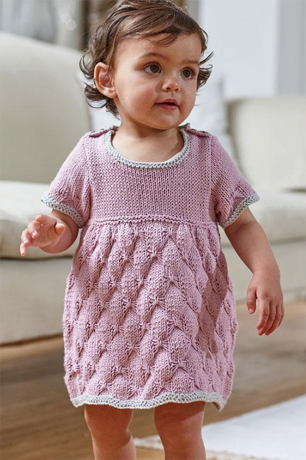 Knitting Pattern for Butterfly Stitch Baby Dress