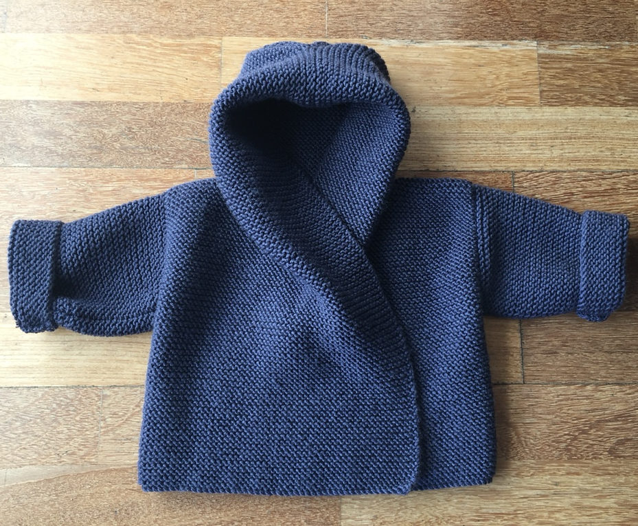 Knitting Pattern for Baby Hooded Wrap Cardigan