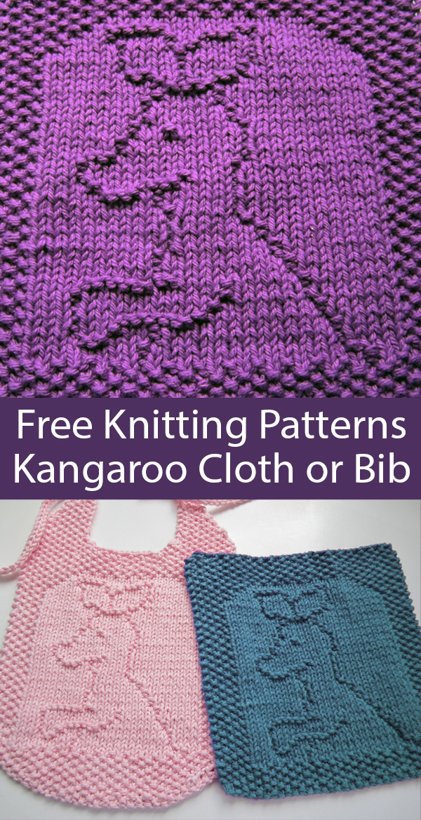 Free Knitting Pattern for Kangaroo Baby Joey Cloth or Bib