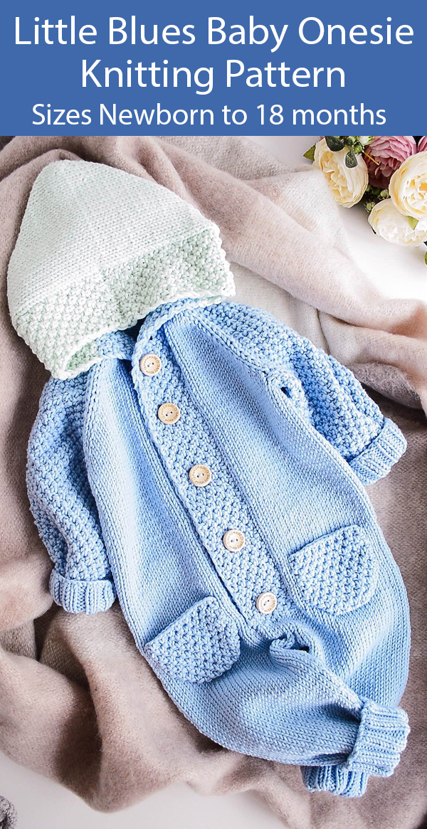 Knitting Pattern for Baby Jumpsuit Little Blues