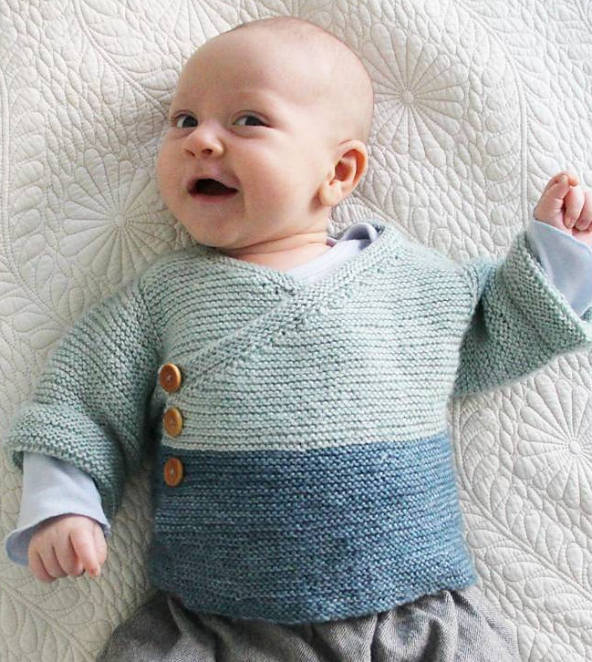 Free Knitting Pattern for Easy Baby Kimono