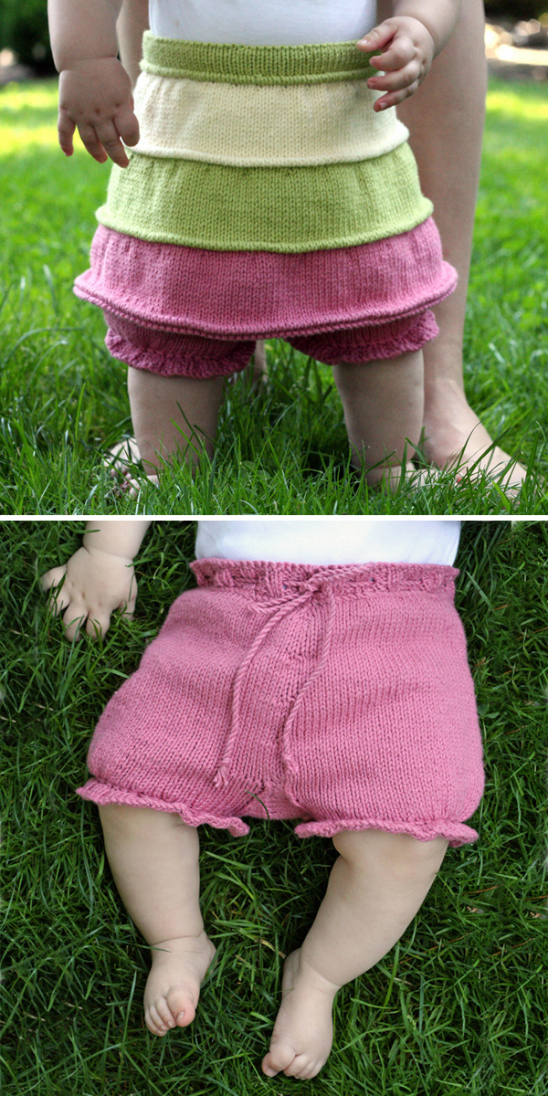 Knitting Pattern for Baby Lollipop Skirt with Bloomers