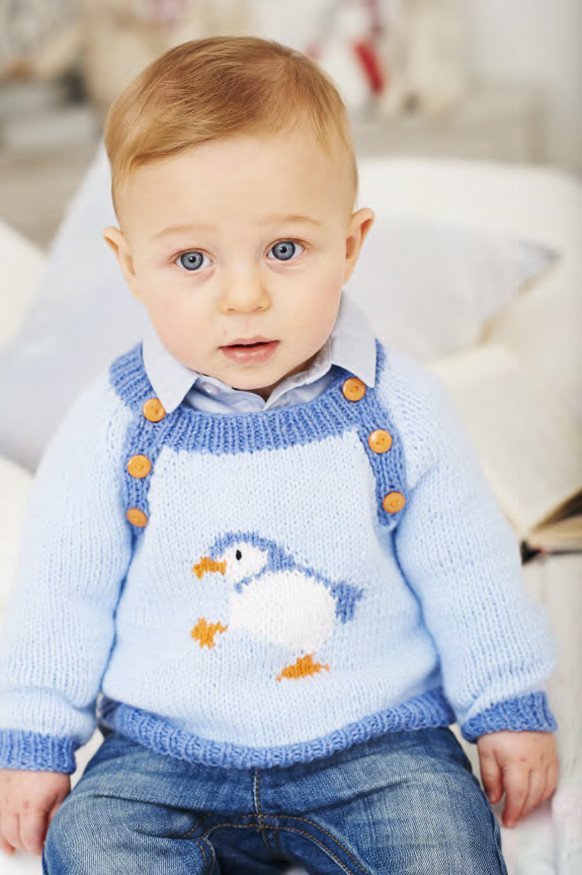 Knitting Pattern for Penguin Sweater for Babies and Children
