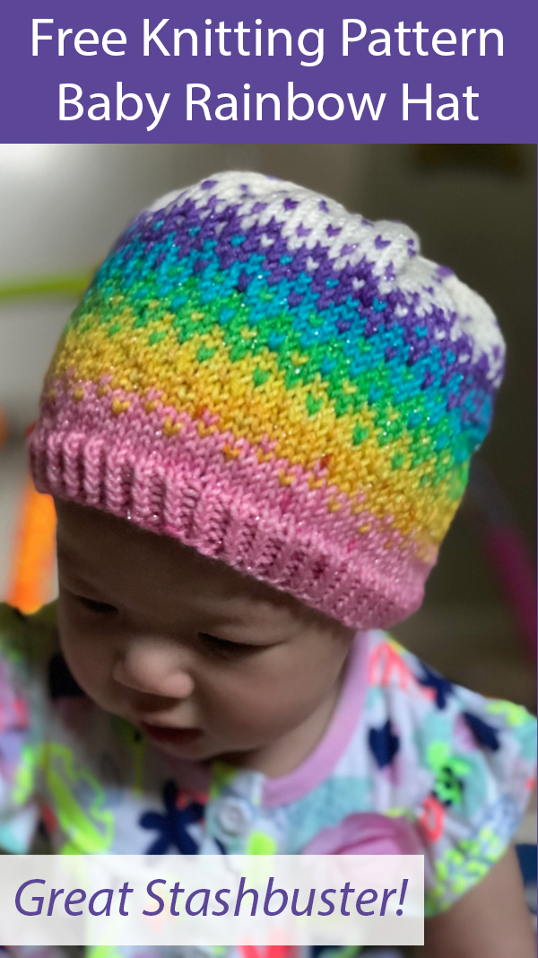 Free Knitting Pattern for Baby Rainbow Hat Stashbuster
