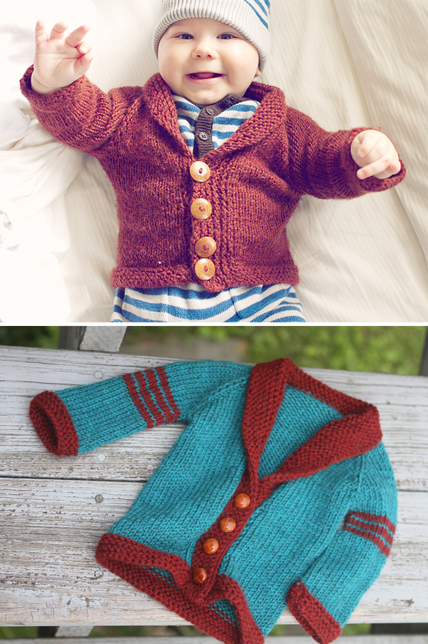 Free Knitting Pattern for Easy Baby Sophisticate Cardigan