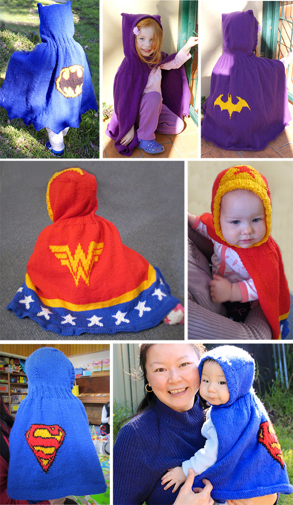 Knitting Patterns for Superhero Hooded Capes for Babies and Children