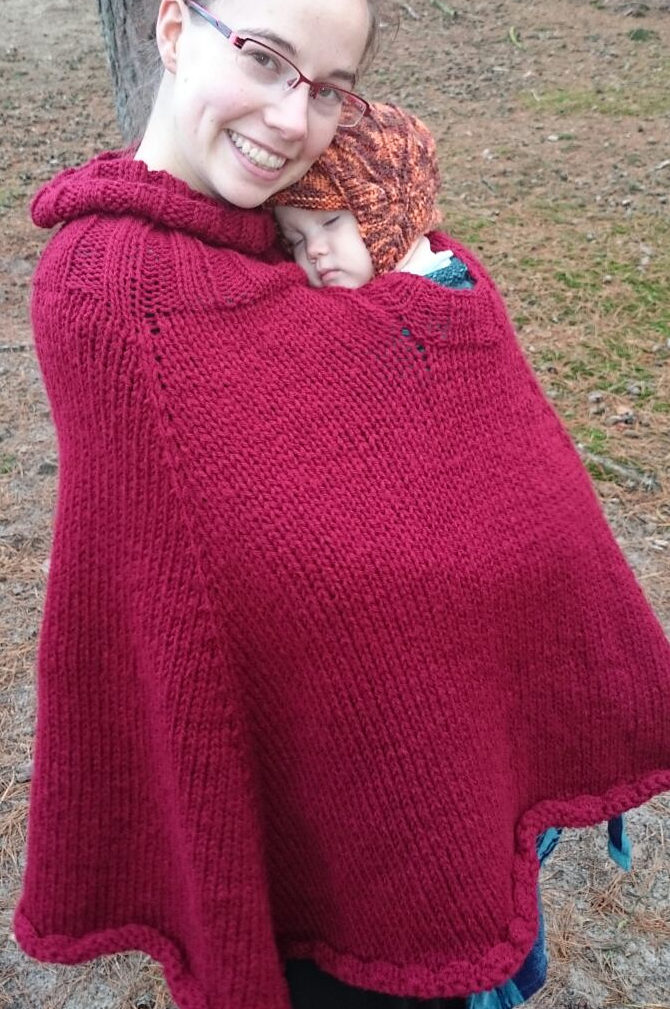 Free Knitting Pattern for Baby-Wearing Poncho