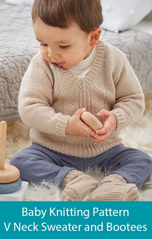 Knitting Pattern or Kit for Baby's V Neck Sweater and Bootees