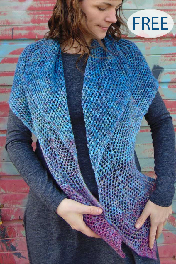 Free Knitting Pattern for 4 Row Repeat Back Again Shawl