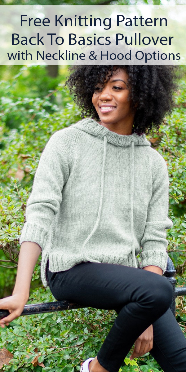 Free Knitting Pattern for Back To Basics Pullover with Options Sizes XS-5X