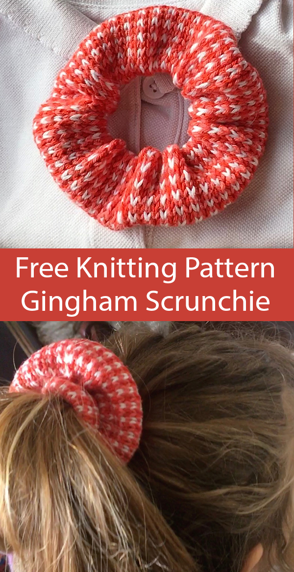 Free Knitting Pattern for Gingham Scrunchie