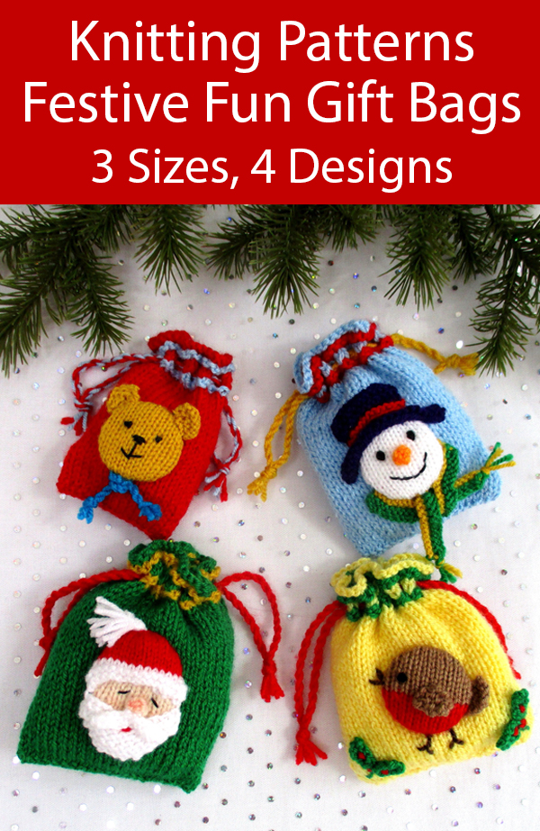 Knitting Pattern for Festive Fun Gift Bags