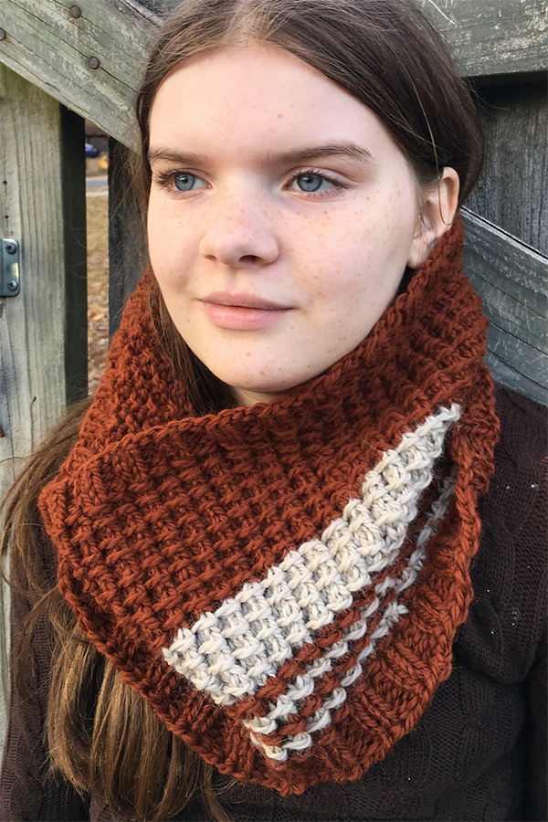Free Knitting Pattern for Easy 2 Row Repeat Bamboo Stitch Cowl