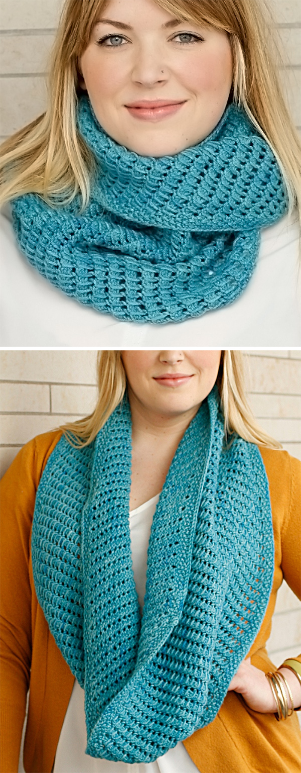 Free Knitting Pattern for Easy 2 Row Repeat Bar Hopping Cowl