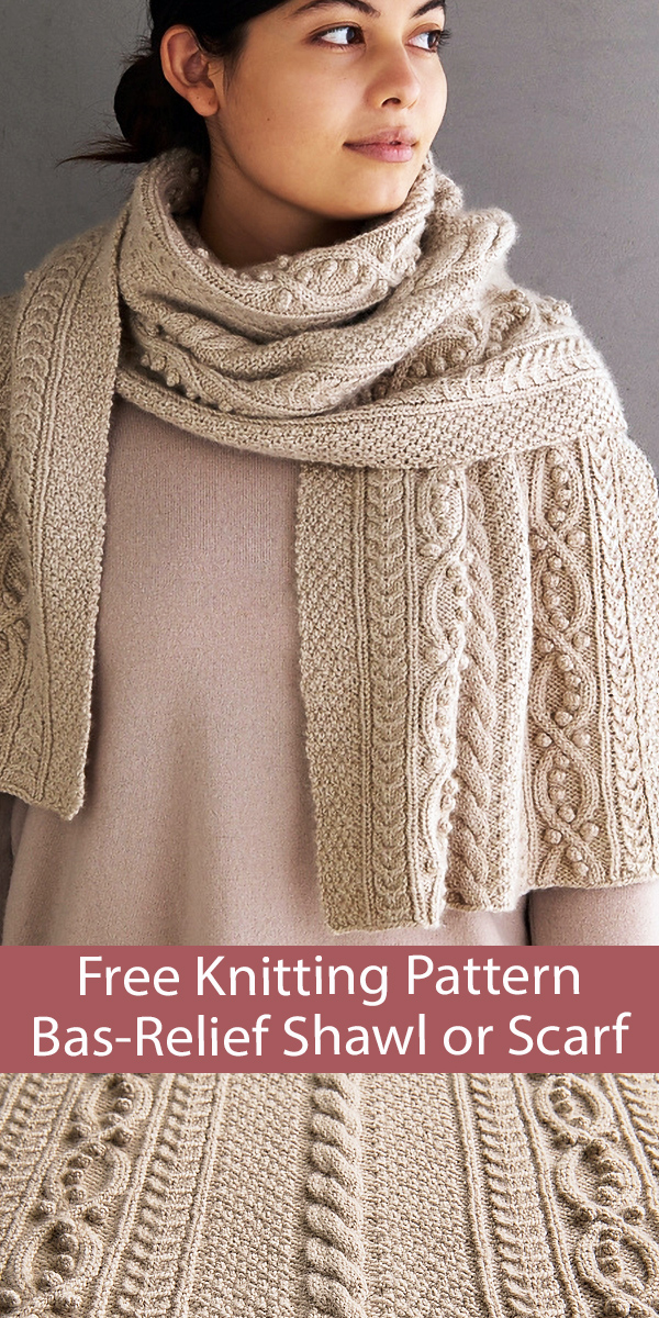 Free Bas-Relief Wrap Knitting Pattern Shawl or Scarf