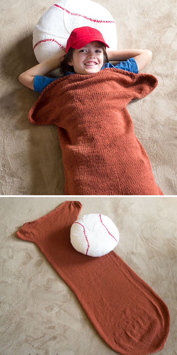 Free Knitting Pattern for Baseball Blanket and Pillow