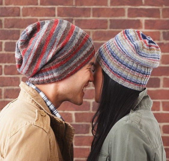 Free Basic Beanie slouchy hat knitting pattern great for multi color yarn