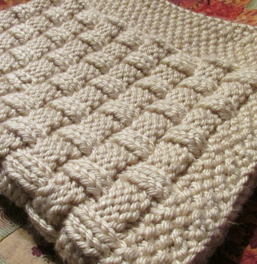 Knitting Pattern for Quick Basket Weave Baby Blanket